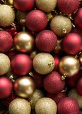 Christmas balls background. Christmas red and yellow balls background Stock Image