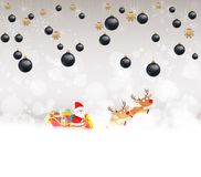 Christmas balls background with santa claus and deer.  Stock Photography