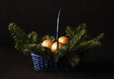Christmas balls in the basket Royalty Free Stock Image