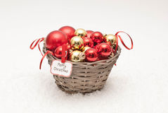 Christmas. Balls in the basket Stock Images