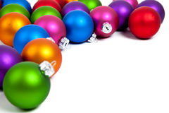 Christmas balls/bauble on white with copy space Royalty Free Stock Photo