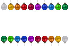 Christmas balls baubles colorful border copyspace copy space iso Royalty Free Stock Images