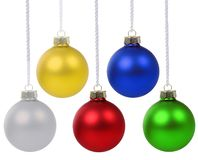 Christmas balls baubles colors hanging isolated on white royalty free stock images