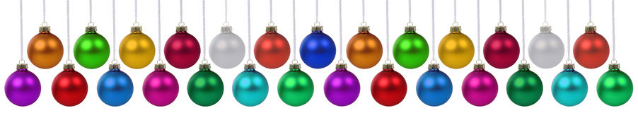 Christmas balls baubles decoration deco hanging isolated on whit Stock Photography