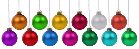 Christmas balls baubles decoration hanging isolated on white Stock Photography