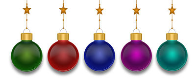 Christmas Balls. Christmas baubles on isolated white background royalty free stock photos