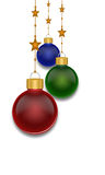 Christmas Balls. Christmas baubles on isolated white background stock photo