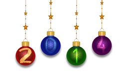 Christmas Balls 2014. Christmas baubles 2014 on isolated white background Royalty Free Stock Images