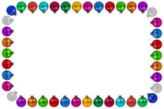 Christmas balls baubles many colorful decoration frame copyspace Stock Images