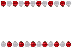 Christmas balls baubles red silver border copyspace copy space i Royalty Free Stock Photos