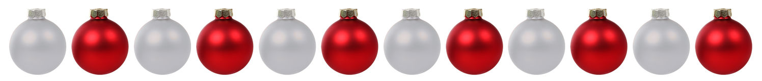 Christmas balls baubles red silver border in a row isolated Stock Photography