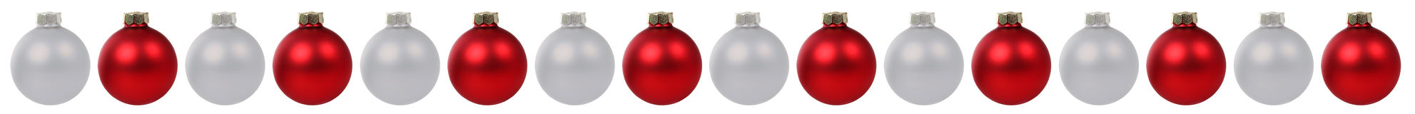 Christmas balls baubles red silver decoration border in a row is Royalty Free Stock Photo