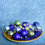 Christmas  balls and beads Royalty Free Stock Images