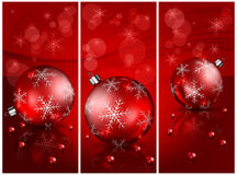 Christmas balls with beads in red Stock Photos