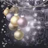 Christmas balls, beads, snowflakes on a dark magic background. Vector illustration Royalty Free Stock Photography