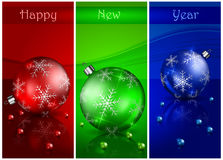 Christmas balls with beads & text Stock Photos