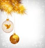 Christmas balls with bird and golden pine on grayscale Stock Afbeeldingen