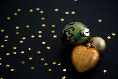 Christmas balls on black background Royalty Free Stock Image