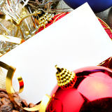 Christmas balls and blank card Royalty Free Stock Photos