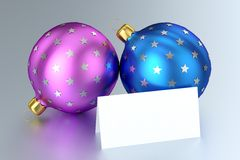 Christmas Balls with Blank Card Stock Photos