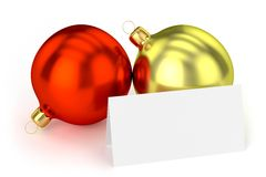 Christmas Balls with Blank Card Royalty Free Stock Images