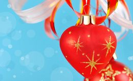 Christmas balls on a blue background Royalty Free Stock Image