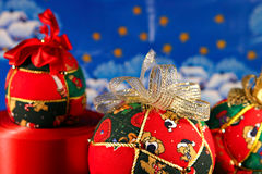 Christmas balls on blue background Stock Photo