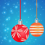 Christmas balls on blue background Stock Image