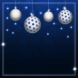 Christmas balls on blue background Stock Photos