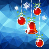 Christmas balls blue background Stock Photo