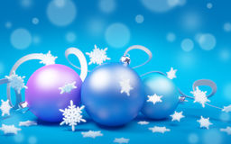 Christmas balls on blue background. Christmas balls with snowflakes on blue background. 3d illustration Stock Photo