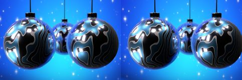Christmas balls. Blue background. Stereoscopic image. Christmas balls. Stereoscopic image. Blue abstract background royalty free illustration