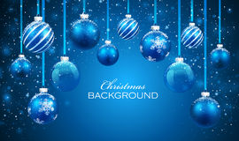 Christmas balls. On blue background. Vector illustration Stock Photo
