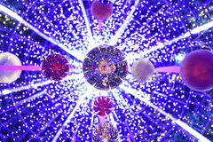 Christmas balls and blue bokeh space Royalty Free Stock Photo