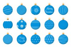 Christmas Balls. 15 Blue Christmas balls with different textures, flat style Royalty Free Stock Photo