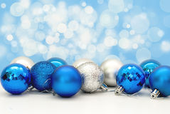 Christmas balls in blue close-up Stock Image