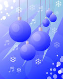 Christmas balls blue drawing Stock Image