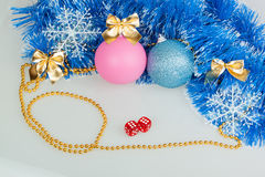 Christmas balls with blue garland Royalty Free Stock Photo