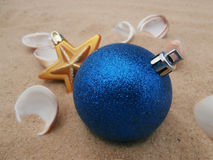 Christmas balls blue and gold star Royalty Free Stock Photography