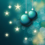 Christmas balls in blue. Holiday card theme vector illustration