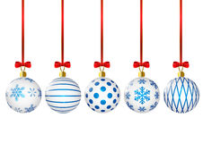 Christmas balls with blue pattern Royalty Free Stock Photos