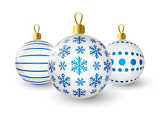 Christmas balls with blue pattern Stock Image
