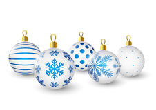 Christmas balls with blue pattern Stock Photo