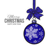 Christmas balls with blue ribbon and bows, greeting card template Royalty Free Stock Image