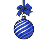Christmas balls with blue ribbon and bows, greeting card template Royalty Free Stock Photo
