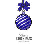 Christmas balls with blue ribbon and bows, greeting card template Stock Photos