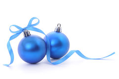 Christmas Balls & Blue Ribbon Royalty Free Stock Photography
