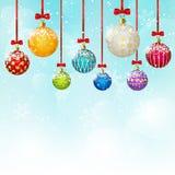 Christmas balls on blue sky background 3. Christmas balls on blue sky background Stock Photos
