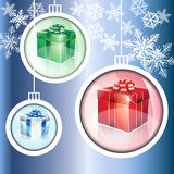 Christmas Balls on Blue Snowflake Background. This illustration is three-dimensional ornaments on a blue snowflake background Royalty Free Stock Photography