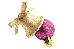 Christmas balls and bluebell. New-year decorations. Christmas balls and bluebell on a white background Stock Photos